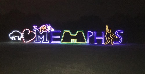 Starry Nights this year features a series of Memphis-themed displays  sprinkled throughout the holiday light show in Shelby Farms Park. - Starry Nights Unveils New 'Memphis In Lights' Display - Memphis