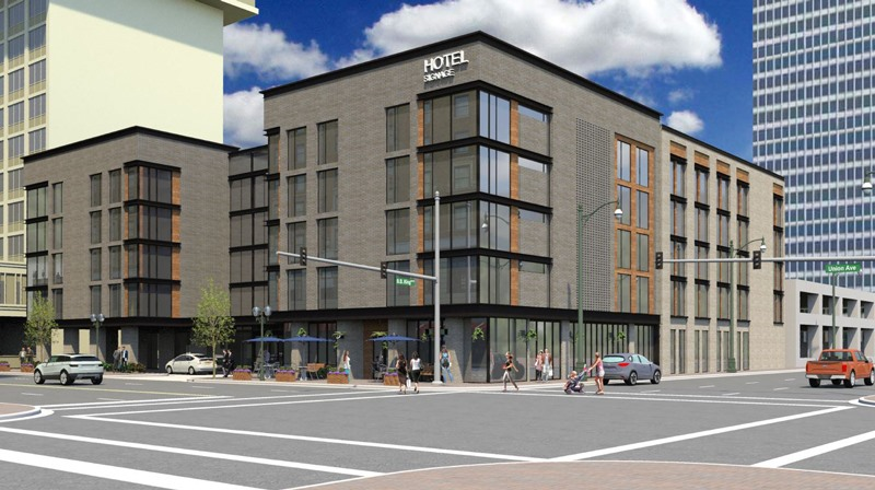 An Exterior Rendering Of The Proposed Hotel That Would Replace Benchmark At 164 Union Ccrfc